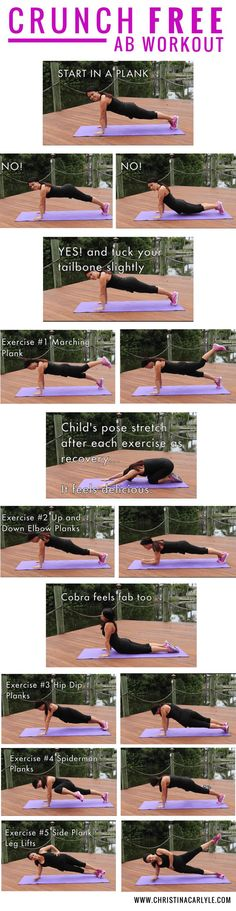 This ab workout was made with core exercises that will help you get tight, toned abs without doing any crunches. Do all of these exercises at least 2 times a week for the best results. #ab #exercises #workout