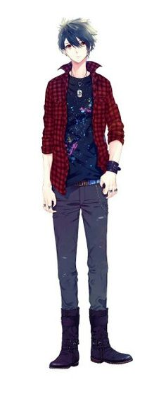 Anime boy, black hair, orange eyes, jeans, red striped jacket, cool; Anime Guys