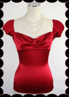 D'Amour Cap Sleeve Top (Red)