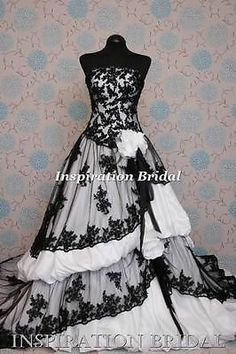 1371 black and white ivory plus size wedding dress 8 10 12 14 16 18 20 Equador
