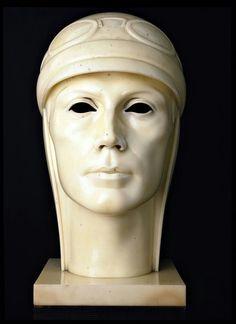 Portrait of Ferrarin, by Adolfo Wildt Art Sculpture, Sculptures, Italian Sculptors, Art Deco Design, Art Deco Fashion, Geometric Shapes, Statue, Wall Art, Black And White