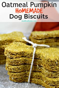 Oatmeal Pumpkin Homemade Dog Biscuits are easy to make crunchy treats that will have your best friend barking for more! Filled with wholesome ingredients like oat flour and pure pumpkin puree, you can feel good about giving them to your dog. Dog Cookie Recipes, Homemade Dog Cookies, Dog Biscuit Recipes, Homemade Dog Food, Dog Treat Recipes, Dog Food Recipes, Crunchy Dog Biscuit Recipe, Easy Recipes, Homemade Oatmeal