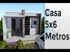 Mini Casa de 5 x 6 metros, Economica con patio!! - YouTube Small House Layout, Small House Design, House Layouts, Modern House Design, One Bedroom House Plans, Tiny House Plans, Apartment Plans, Apartment Design, Small Loft Apartments