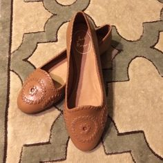 Jack Rogers Loafers Jack Rogers flats in cognac leather. Handmade in Dominican Republic. New never worn. I wear 6.5/7 and they are tight on me  Took a picture to show where the leather meets (it looks like a scratch but it's not). Jack Rogers Shoes Flats & Loafers