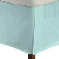 Elegant 1 Qty Bed Skirt Egyptian Cotton Aqua Blue Stripe Drop 15 Inch 1000 Tc