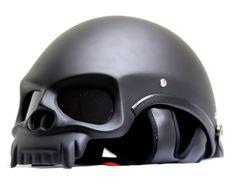 $169.00 - MASEI MATT BLACK SKULL 419 MOTORCYCLE CHOPPER HELMET FOR HARLEY DAVIDSON BIKER - Masei Helmets Online Stores