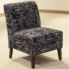 @Overstock - Tiffany Script Chair - Sit back and relax in this chair featuring a contemporary script design that is eye-catching, yet subtle. The durable polyester construction with white script over a black background is perfect for adding style to any room or office.  http://www.overstock.com/Home-Garden/Tiffany-Script-Chair/9160468/product.html?CID=214117 $159.99