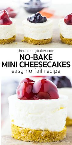 Enjoy smooth, creamy, New York style cheesecake without turning the oven on! Try this easy, no-fail no-bake mini cheesecake recipe. The perfect warm weather treat. Follow along with step-by-step photo… More Easy No Bake Desserts, Great Desserts, Best Dessert Recipes, Mini Desserts, Sweet Recipes, Delicious Desserts, Snack Recipes, Dessert Ideas, Mini No Bake Cheesecake