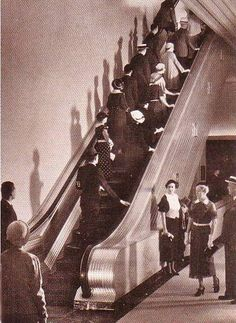 Marshall Field Department Store new escalators, Chicago 1938