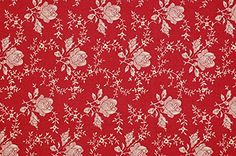 Notions Potions Quilt Patchwork One Yard Cotton Fabric Vintage Floral English Rose in Deep Red