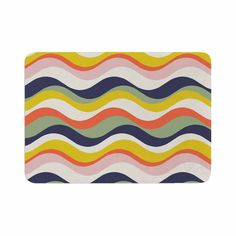 "Gukuuki ""Rainbow Stripes"" Multicolor Stripe Memory Foam Bath Mat"