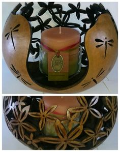 Gourd candle. Hand carved and stained. Idea off a pattern done by Bonnie Gibson. $250 by Deanna Eggebraaten NO LONGER AVAILABLE.