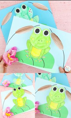 Looking for a fun, interactive and easy Spring craft for your kids? Why not have a go at our easy bobble head paper frog craft: with coloring, cutting, and folding, it's great for developing those fin Animal Crafts For Kids, Spring Crafts For Kids, Paper Crafts For Kids, Summer Crafts, Toddler Crafts, Easy Crafts, Craft With Paper, Recycled Crafts For Kids, Bug Crafts