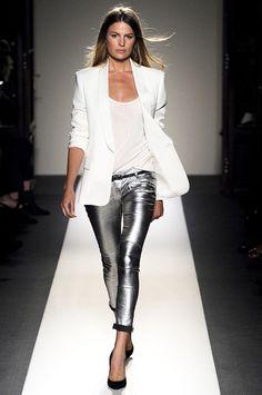 metallic pants, white blazer
