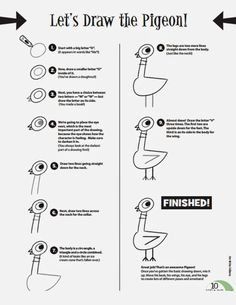 Mo Willems The Pigeon Needs a Bath Easy instructions: How to DRAW the Pigeon from Mo Willems book series. Don't let the Pigeon drive the bus by Mo Willems, and his new book The Pigeon Needs a Bath Mo Willems, Pigeon Books, Library Lessons, Art Lessons, Library Ideas, Grande Section, Kindergarten Writing, Kindergarten Classroom, Author Studies
