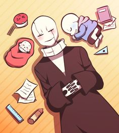 Undertale Gaster Sans and Papyrus sleeping | Babybones