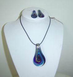 Murano Glass Teardrop Necklace & Earrings Set Cobalt Blue