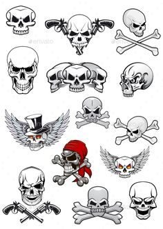 Buy Vector Skull Characters with Crossbones by VectorTradition on GraphicRiver. Skull characters for hallowen, pirates and piracy decorated with crossed bones, crossed pistols, wings, tophat and ba. Small Skull Tattoo, Skull Tattoo Design, Skull Tattoos, Sleeve Tattoos, Key Tattoos, Foot Tattoos, Tattoo Designs, Simple Skull, Skull Stencil