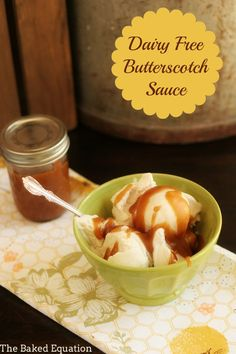 Coconut milk ice cream topped with a this super easy and yummy dairy free butterscotch sauce is the perfect treat. Vegan Desserts, Easy Desserts, Delicious Desserts, Dessert Recipes, Dessert Sauces, Egg Free Recipes, Vegan Recipes, Vegan Sauces, Easy Recipes