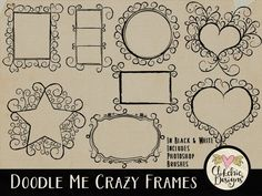 Doodle Frames Clipart & Photoshop Brushes - Doodle Chalk board White and Black Clip Art Frames .abr brushes by ClikchicDesign