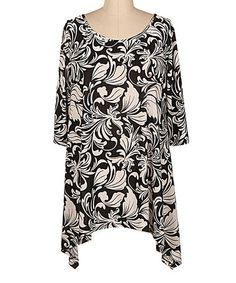 Another great find on #zulily! Black & Ivory Floral Sidetail Tunic - Plus #zulilyfinds