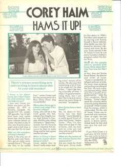 Corey Haim, Full Page Vintage Clipping