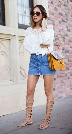 How to wear knee-high gladiator sandals - with an A-line denim mini and white blouse