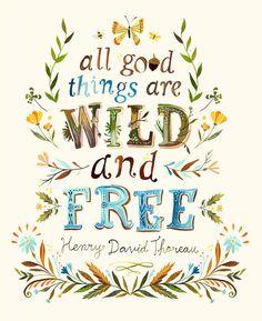 野生、無料のアート プリント  ソローの引用  水彩レタリング  手文字自然壁アート  ケイティ デイジー