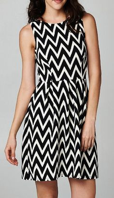 A great black and white chevron dress that could go from work to play! A steal of a deal - on sale for $45.