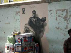 ernest pignon ernest pieta for the aids generation Street Art, Social Art, Slums, Banksy, Community Art, Urban Art, Les Oeuvres, Art Pieces, Africa