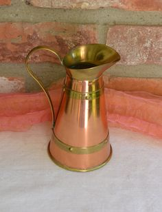 Vintage Copper Pot - Brass Design, Made in England - 1970's - Fabulous! by YPSA…