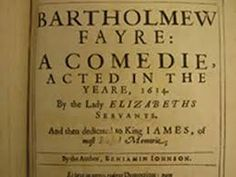 Ben Jonson writes about Puppets and Barhtolomew Faire: Broadside for Ben Jonson's Bartholomew Fayre