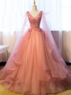 Elegant Tulle V neck Pink Ball Gown Prom Dress, Sweet 16 Prom Dresses T860 by sweetdressy, $170.10 USD Princess Prom Dresses, Princess Ball Gowns, Pink Princess Dress, Vintage Princess, Ball Gowns Prom, Ball Gown Dresses, Pink Ball Gowns, Ball Gowns Fantasy, Lace Prom Dresses