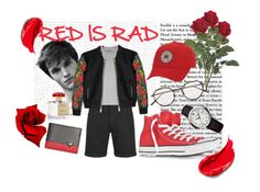 """RED IS RAD"" by ganang-sapto-handoko on Polyvore featuring Cheap Monday, DUO, Dsquared2, Converse, Bottega Veneta, Raymond Weil, GUESS, Roja Parfums, Estée Lauder and mens"
