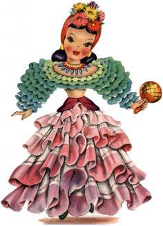 Retro Latin America Doll Image! - The Graphics Fairy