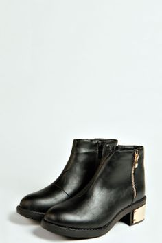 Maddy Zip Side Plaque Block Heel Ankle Boot at boohoo.com