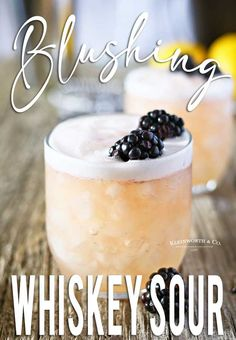 Blushing Whiskey Sour is the perfect cocktail recipe for St. Patricks Day Easter spring or anytime youd love a delicious whiskey drink. Great for blackberry lovers delish. Sour Cocktail, Cocktail Drinks, Cocktail Recipes, Whiskey Sour, Bourbon, Spring Cocktails, Summer Drinks, Sour Foods, Pompadour