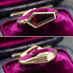 ((about)) A crimson coffin-cut garnet is set into warm 10k yellow gold as a modern memento mori. The clasped hands detail - a symbol of faith, love and devotion - is concealed in the wearer's palm. It