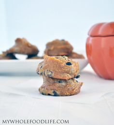 Flourless Pumpkin Cookies - vegan, gluten free and grain free. They are also Paleo friendly and freeze well, no processed sugar - maple syrup and cashew butter