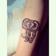 20 Reasons Why You will Want to Get an Elephant Tattoo Elephants are revered for their memory, sense of sympathy, cleverness, and wisdom! We'll look at their meaning and check out tons of Elephant Tattoo Designs Eyebrow Makeup Tip Dream Tattoos, Future Tattoos, Body Art Tattoos, New Tattoos, Thigh Tattoos, Tatoos, Tattoo Hip, Tattoo Music, Note Tattoo