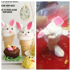 This horribly disfigured bunny cake cone: