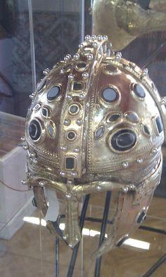 Amazing Roman helmet in the Vojvodina Museum, Novi Sad, Serbia