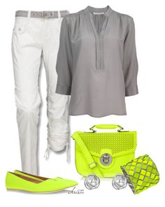 """""""Neon and Grey"""" by christa72 ❤ liked on Polyvore featuring мода, Century Seven, MM6 Maison Margiela, Blu Bijoux и Otis"""