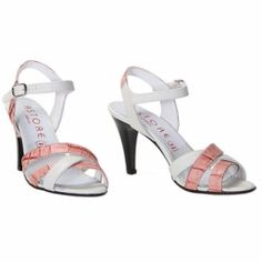 Natural leather sandals in pink and white, with animalier pattern. By Astore Venezia