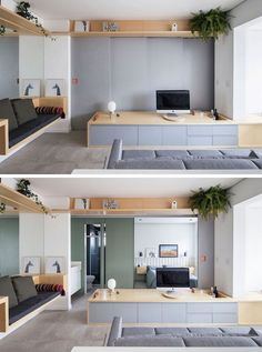 In this small and modern apartment, the wall behind the tv opens up to reveal the bedroom and the bathroom. Salon Interior Design, Home Design Decor, Home Decor, Bed Design, Design Ideas, Apartment Interior, Apartment Living, Small Apartment Plans, Apartment Kitchen