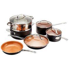 6.best copper cookware: Gotham Steel 10-Piece Nonstick Frying Pan and Cookware Set - Graphite