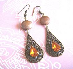 Mocha fresh water coin pearl and vintage amber jewel by ardorfire, $26.00