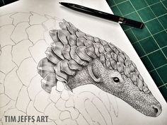 Progress Pic #2 of a Pangolin. Drawn with a Tombow Zoom L105 Ballpoint pen.