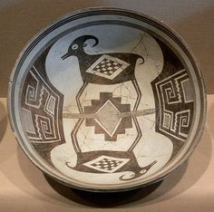Mimbres black-on-white bowl with bighorn sheep and geometric designs; ceramic, Mogollon culture, New Mexico, c. Native American Artwork, Native American Pottery, American Indian Art, Southwest Pottery, Southwest Art, Southwest Quilts, Pottery Designs, Pottery Art, Pottery Patterns