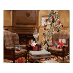 A peaceful poster of a classical, christmas living room, that exude a feeling of warmth of love that represent the holidays. Click to Purchase